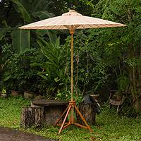Decorative garden umbrella, 'Happy Garden in Beige' - Handcrafted Outdoor Decor Garden Umbrella in Beige