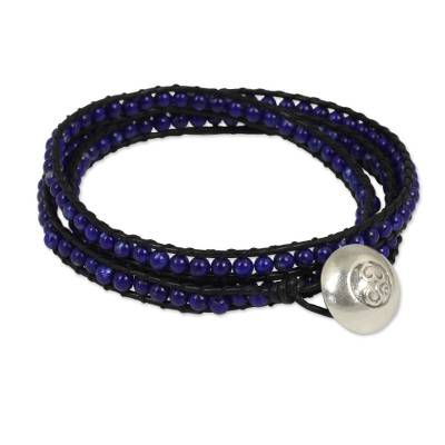 Lapis Lazuli and Leather Wrap Bracelet with Silver Button
