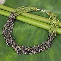 Amethyst and peridot torsade necklace, 'Lilac Spring' - Handmade Amethyst and Peridot Beaded Torsade Necklace