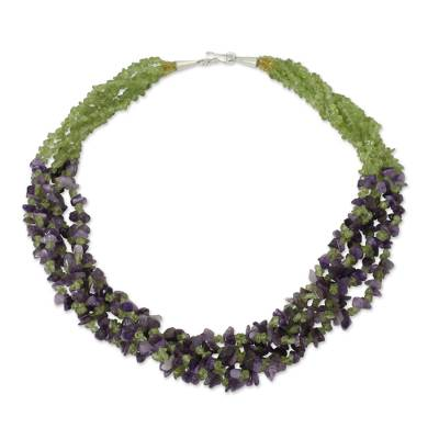 Handmade Amethyst and Peridot Beaded Torsade Necklace