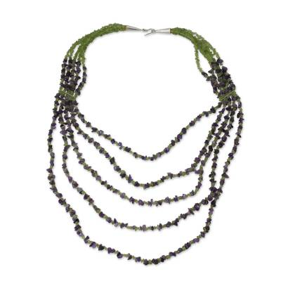 Beaded Amethyst and Peridot Necklace from Thailand