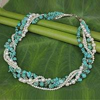 Cultured pearl and calcite torsade necklace, 'Blue Sea' - Fair Trade Torsade Necklace with Pearls and Calcite