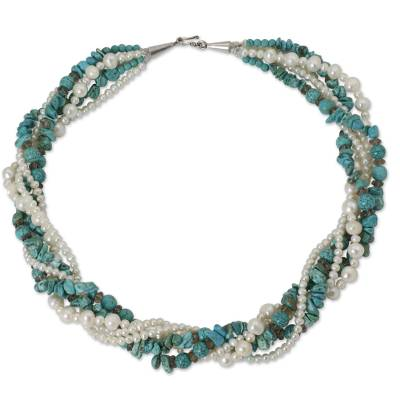 Fair Trade Torsade Necklace with Pearls and Calcite