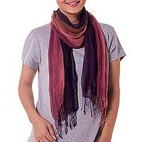 Silk scarves, 'Twilight Reverie' (pair) - Hand Dyed Silk Scarves in Purple and Brown (pair)