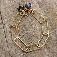 Gold plated labradorite link bracelet, 'Modern Extravagance' - Gold Plated Thai Link Bracelet with Labradorite and Pearl