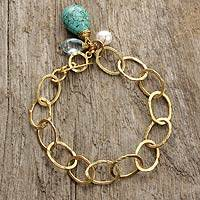 Gold plated blue topaz link bracelet, 'Modern Marvel' - Blue Topaz and Pearl Link Bracelet Plated in 24k Gold