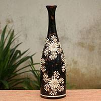 Ceramic vase, 'White Blossoms' - Handcrafted Dark Brown Ceramic Vase with White Flowers