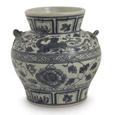 Ceramic vase, 'Blue Orient' - Handmade Blue Floral Chinoiserie Ceramic Vase from Thailand