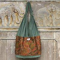 Cotton shoulder bag, 'Green Flourish' - Handmade Cotton Shoulder Bag with Coconut Shell Button