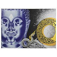 'Worship Buddha' - Original Buddha Painting on Canvas by Thai Artist