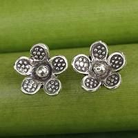 Sterling silver flower earrings, 'Tribal Daisies' - Karen Hill Tribe Jewelry Sterling Silver Button Earrings