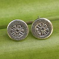 Sterling silver flower earrings, 'Karen Elegance' - Thai Hill Tribe Hand Crafted Sterling Silver Button Earrings