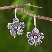 Sterling silver flower earrings, 'Karen in Bloom' - Artisan Crafted Hill Tribe Silver Flower Earrings