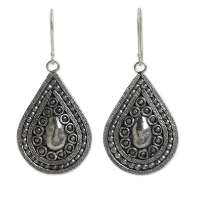 Silver 950 Thai Hill Tribe Style Dangle Earrings