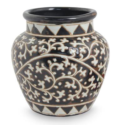Ceramic vase, 'Coffee Vines' - Handcrafted Dark Brown Ceramic Vase with White Flowers