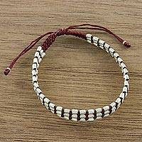 Silver beaded cord bracelet, 'Friendly Red' - Handmade Silver 950 Bead and Red Cord Bracelet