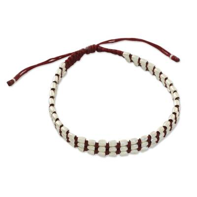 Handmade Silver 950 Bead and Red Cord Bracelet