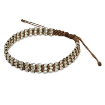 Light Brown Wristband Bracelet with 950 Silver Beads