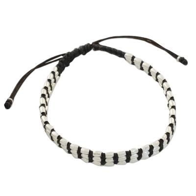 Handcrafted Silver Beaded Brown Macrame Cord Wristband Bracelet