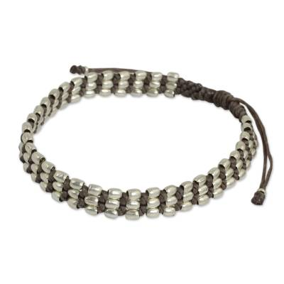 Fair Trade Taupe Cord Bracelet with Silver 950 Beads