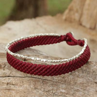 Silver beaded wristband bracelet, 'Blithe Red' - Women's Red Wristband Bracelet with Silver Beads