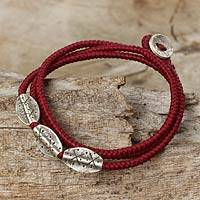 Silver beaded wrap bracelet, 'Chiang Mai Red' - Silver 950 and Red Cord Wrap Bracelet from Thailand