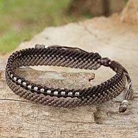 Silver beaded wristband bracelet, 'Amity in Brown and Taupe' - Hand-Knotted Cord Bracelet with 950 Silver Accents