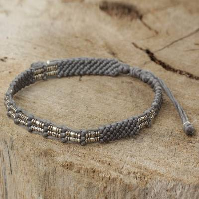 Silver beaded cord bracelet, 'Affinity in Gray' - Gray Cord and Silver 950 Bracelet Handmade in Thailand