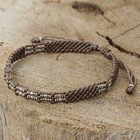 Silver beaded cord bracelet, 'Affinity in Taupe' - Taupe Adjustable Beaded Bracelet Handcrafted in Thailand