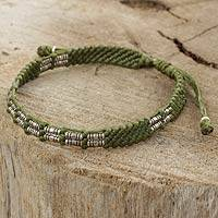 Silver beaded cord bracelet, 'Affinity in Green'