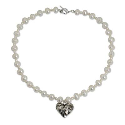 Cultured Pearl Strand Necklace with Silver Heart Pendant