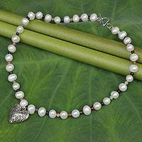 Pearl and tourmaline pendant necklace, 'Cherished Love' - Pearl and Tourmaline Strand Necklace with Silver Heart