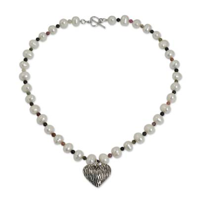 Pearl and Tourmaline Strand Necklace with Silver Heart