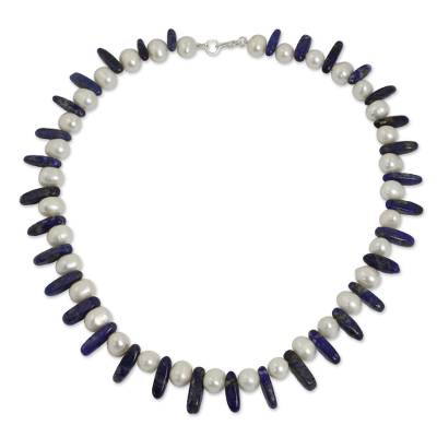 Beaded Lapis Lazuli and Pearl Necklace from Thailand