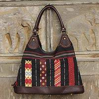 Cotton and leather shoulder bag, 'Naga Weave' - Naga Tribe Handmade Cotton and Leather Shoulder Bag