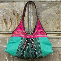 Leather trimmed cotton shoulder bag Tribal Green Thailand