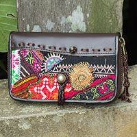 Leather and cotton blend wallet Tribal Chic Thailand