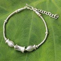 Silver pendant bracelet, 'Karen Carnival' - Hill Tribe Jewelry Artisan Crafted 950 Silver Fish Bracelet