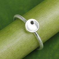 Onyx and sterling silver ring, 'The Circle' - Women's Artisan Crafted Onyx and 925 Silver Ring