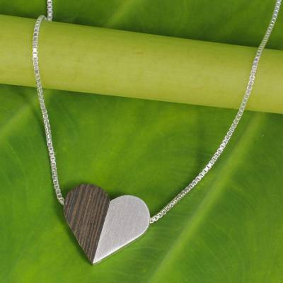 Sterling silver and wood pendant necklace, 'Together Heart' - Wood and Sterling Silver Heart Necklace