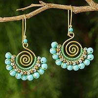 Featured review for Beaded gold vermeil dangle earrings, Aqua Kiss
