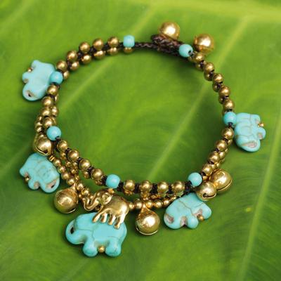 Brass beaded bracelet, 'Blue Elephant' - Handcrafted Bead Bracelet with Blue Elephant Charms