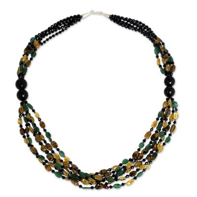 Multi Gemstone Artisan Crafted Beaded Necklace