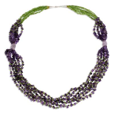 Beaded Gemstone Necklace with Amethyst and Peridot