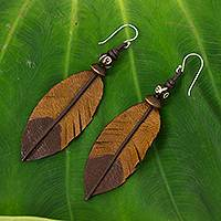 Leather and bone dangle earrings, 'Brown Feather' - Feather-Shaped Earrings Crafted from Leather, Bone and Wood