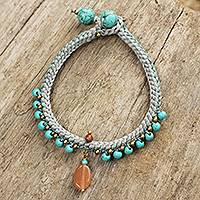 Beaded calcite bracelet, 'Mae Sa Falls' - Turquoise Blue Calcite and Brass Bracelet from Thailand