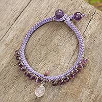 Amethyst beaded bracelet, 'Mae Sa Orchid' - Thai Hand Beaded Amethyst and Rose Quartz Bracelet