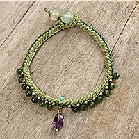 Beaded quartz and amethyst bracelet, 'Mae Sa Jungle' - Braided Cord Bracelet with Quartz, Amethyst, and Prehnite