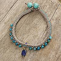 Beaded gemstone bracelet, 'Mae Sa Cascade' - Lapis Lazuli and Agate Braided Bracelet with Brass Beads