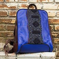 Leather and cotton backpack, 'Hill Tribe Cheerful Blue' - Handcrafted Blue Backpack in Leather and Embroidered Cotton